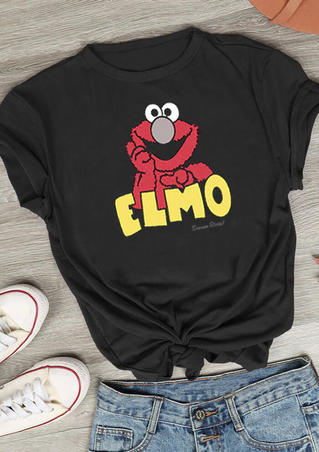 Elmo Cartoon T-Shirt Tee - Black