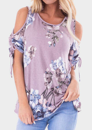 Floral Cold Shoulder Tie Blouse - Light Purple