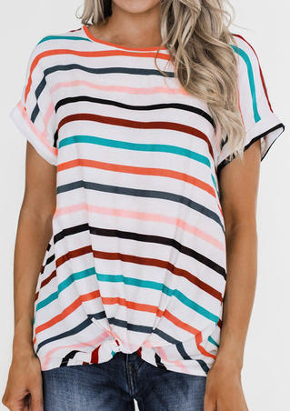 Striped Twist O-Neck Blouse - Stripe