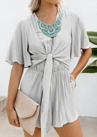Solid Layered Tie Romper without Necklace - Gray
