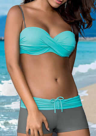 Color Block Ruffled Bikini Set - Lake Blue