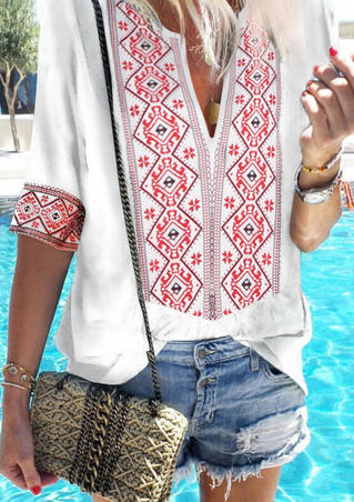 Geometric Printed V-Neck Blouse without Necklace - White