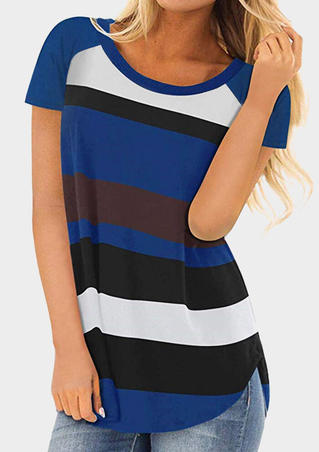Striped O-Neck T-Shirt Tee - Blue