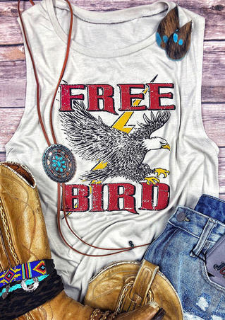 Free Bird Eagle O-Neck Tank - Light Grey