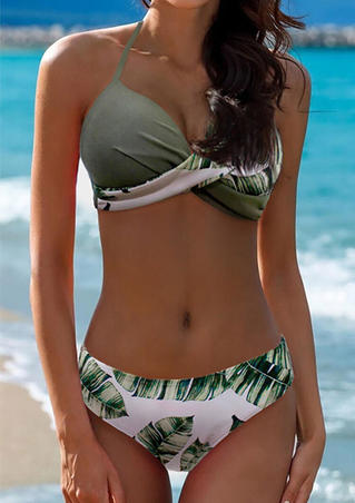 Leaf Printed Twist Halter Bikini Set - Green
