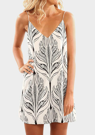 Leaf V-Neck Spaghetti Strap Mini Dress - Beige