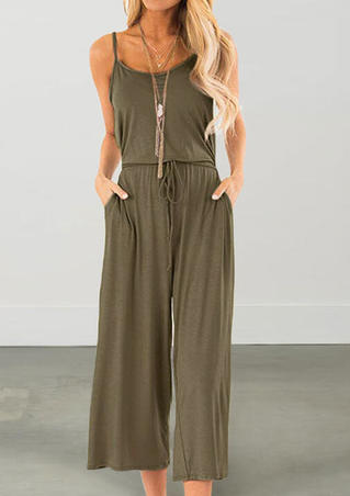 Solid Pocket Jumpsuit without Necklace - Army Green