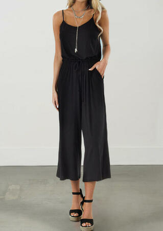 Solid Pocket Spaghetti Strap Jumpsuit without Necklace - Black