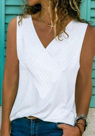 Solid Ruffled V-Neck Tank without Necklace - White