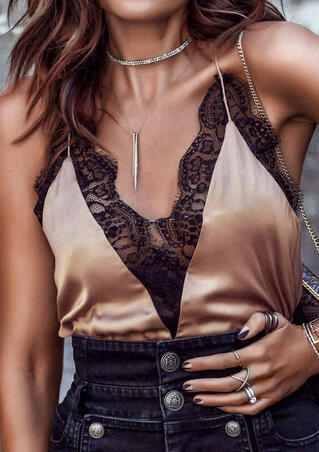 Lace Splicing Spaghetti Strap Camisole without Necklace - Dark Apricot