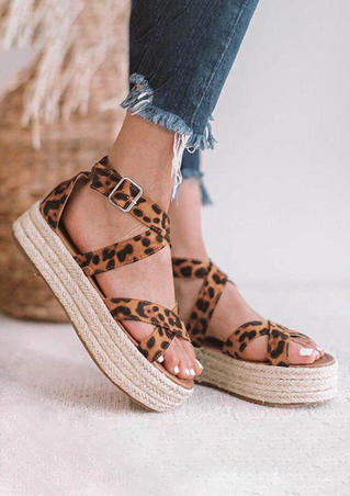 Summer Leopard Printed Criss-Tied Sandals