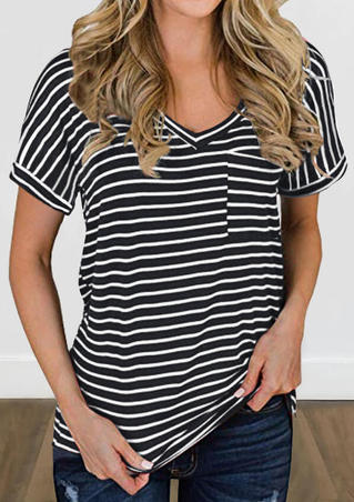 Striped Pocket V-Neck Blouse - Black