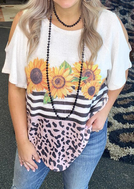 Leopard_Printed_Sunflower_Cold_Shoulder_Blouse_without_Necklace_-_White