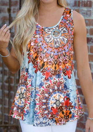 Mandala Printed Tank without Choker - Multicolor