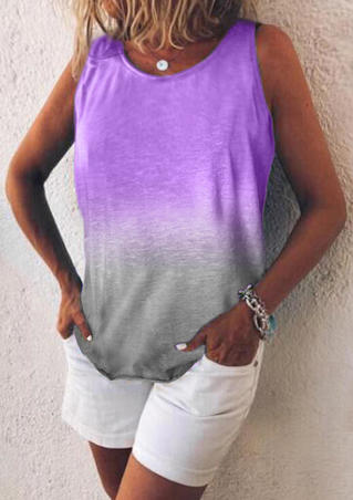 Gradient Color Tank without Necklace - Purple