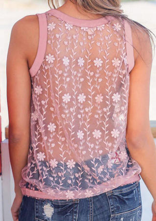 Solid Mesh Splicling Lace Floral See-Through Tank - Pink