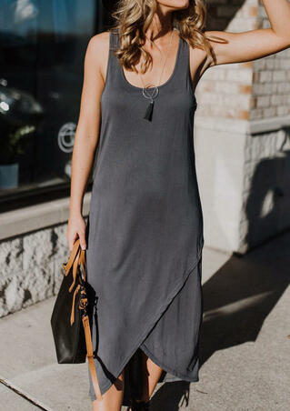Solid Irregular Maxi Dress without Necklace - Dark Grey