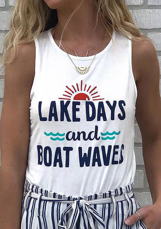 Lake Days And Boat Waves Tank without Necklace - White