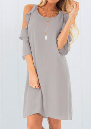 Solid Cold Shoulder Mini Dress without Necklace - Gray