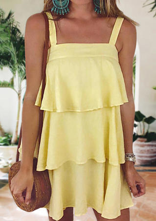 Solid Layered Spaghetti Strap Mini Dress - Yellow