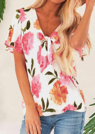 Floral Tie V-Neck Blouse without Necklace - White