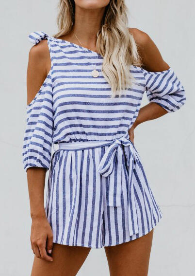 Striped_One_Shoulder_Tie_Romper_without_Necklace