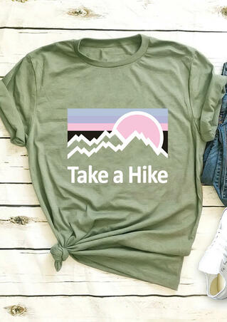 Take A Hike Mountain T-Shirt Tee - Army Green