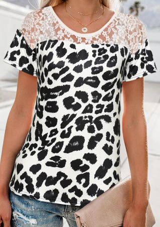 Leopard Printed Lace Splicing Blouse without Necklace - White