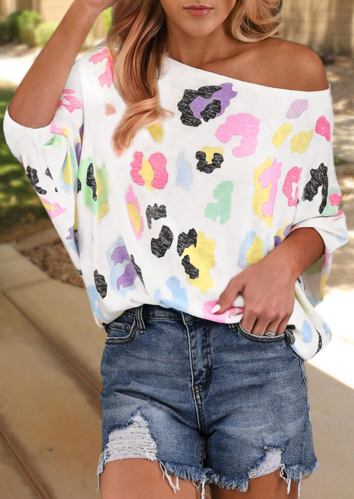 Multicolor_Printed_One_Shoulder_Blouse_-_White