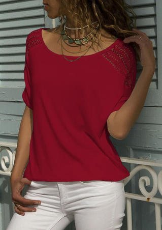 Solid Hollow Out Blouse without Necklace - Red
