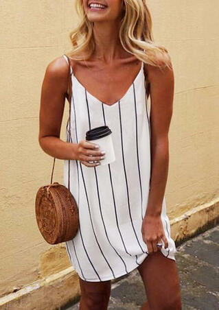 Striped Slip Mini Dress - White
