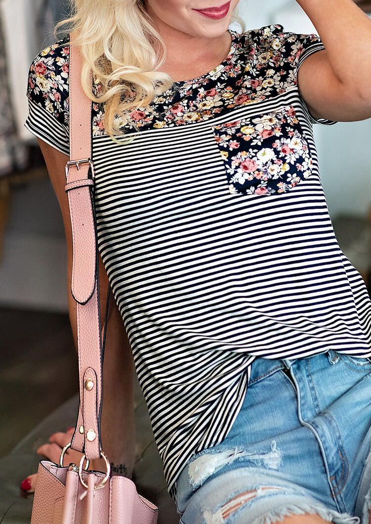 Striped_Floral_Splicing_Pocket_T-Shirt_Tee
