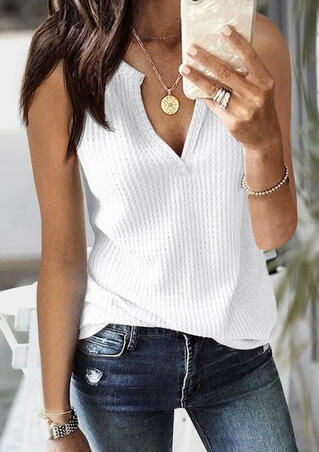 Solid Knitted V-Neck Tank without Necklace - White