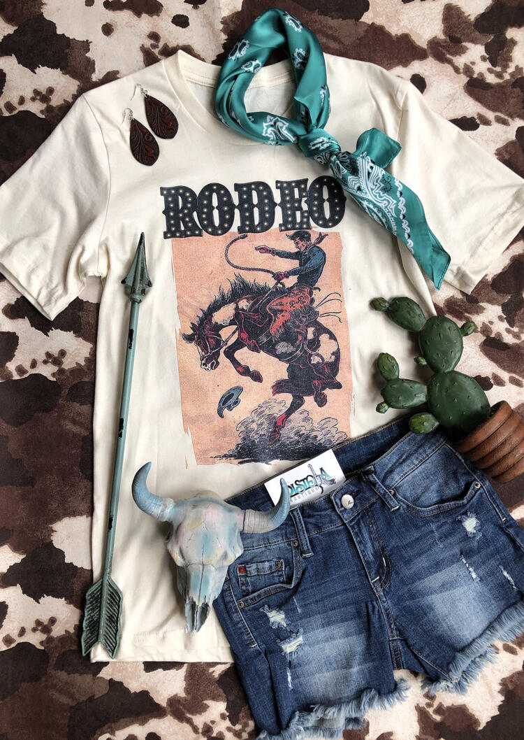 Rodeo_Horse_O-Neck_T-Shirt_Tee_-_White