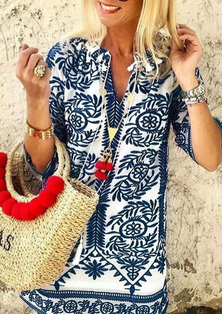 Printed_V-Neck_Blouse_without_Necklace_-_Navy_Blue