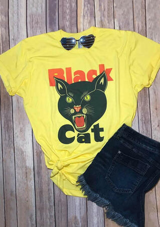 Black Cat T-Shirt Tee - Yellow