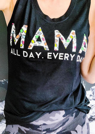 Mama All Day Every Day Tank - Black