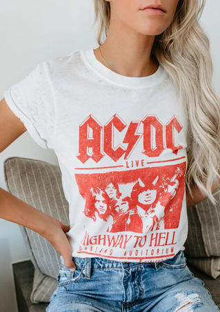 AC DC Highway To Hell T-Shirt Tee - White