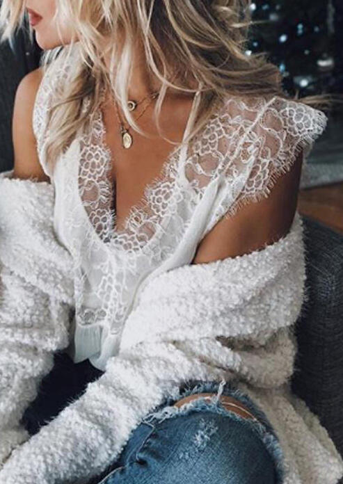 2_PCS_Solid_Lace_Splicing_Shirt_without_Necklace_-_White