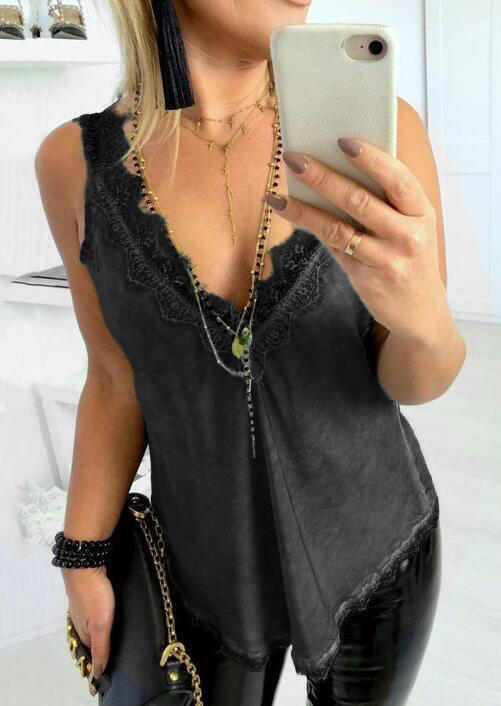 Solid_Lace_Splicing_Irregular_Tank_without_Necklace_-_Black