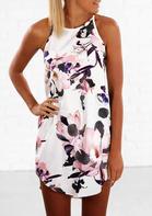 Floral O-Neck Asymmetric Mini Dress - White