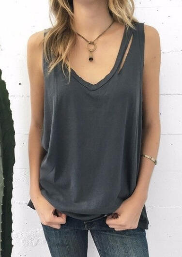 Solid_Hollow_Out_V-Neck_Tank_without_Necklace_-_Gray