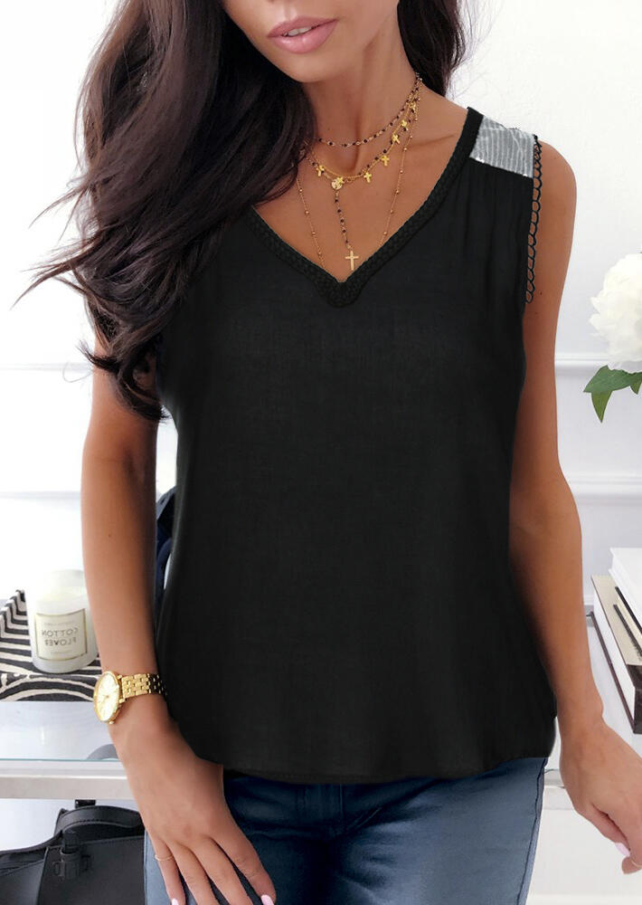 Sequin_Splicing_V-Neck_Tank_without_Necklace_-_Black