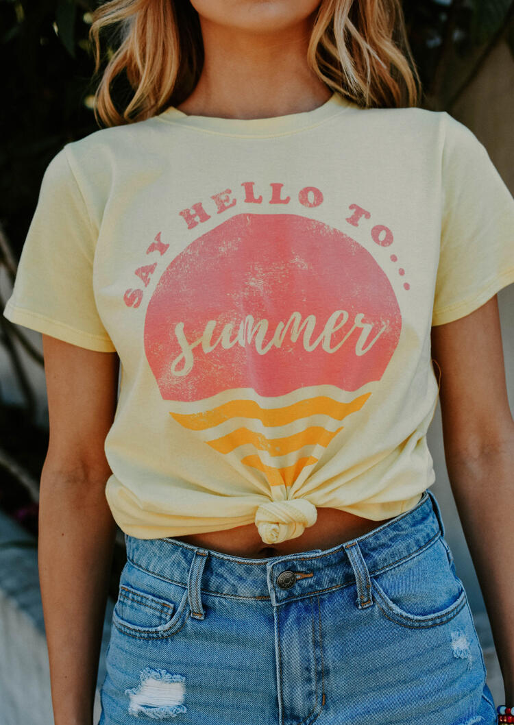 Say_Hello_To_Summer_T-Shirt_Tee_-_Light_Yellow