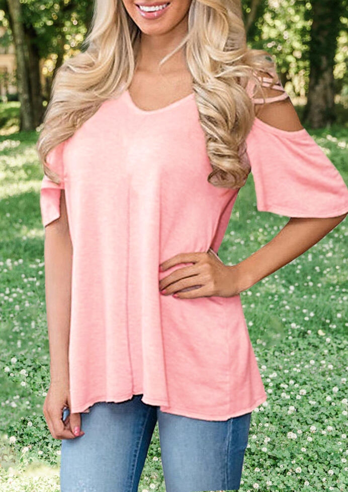 Solid_Criss-Cross_Cold_Shoulder_Blouse_-_Pink