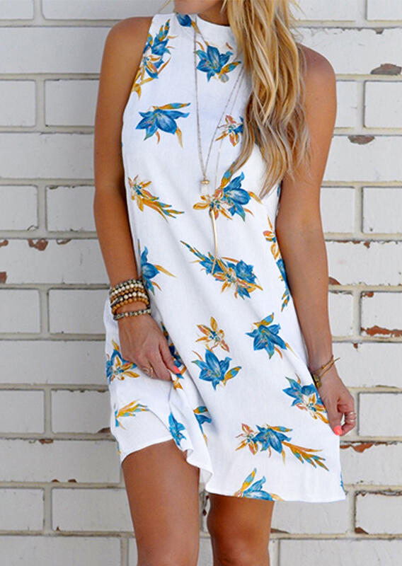 Floral_Open_Back_Halter_Mini_Dress_without_Necklace_-_White