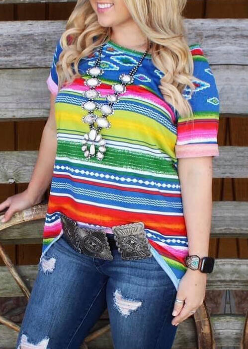 Neon_Aztec_Striped_T-Shirt_Tee_without_Necklace_-_Multicolor