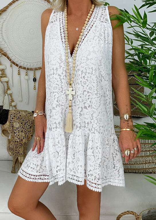 Solid_Lace_V-Neck_Mini_Dress_without_Necklace_-_White