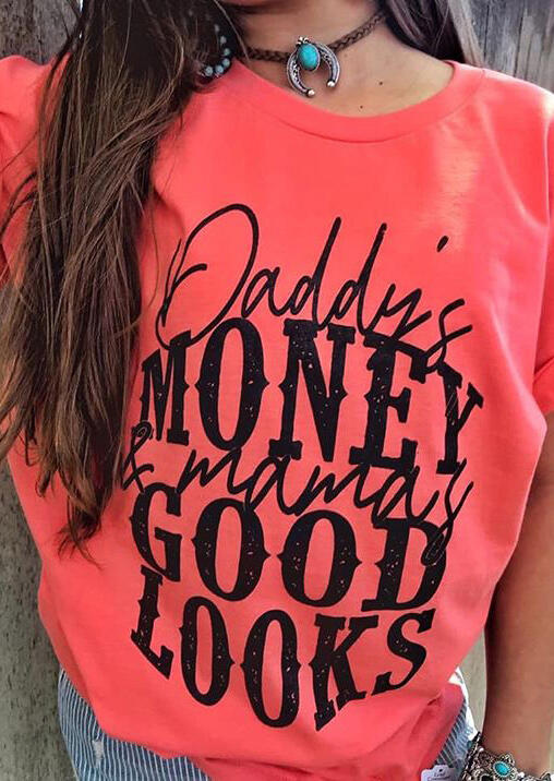 Daddy_Money_Mama_Good_Looks_T-Shirt_Tee_without_Necklace_-_Watermelon_Red
