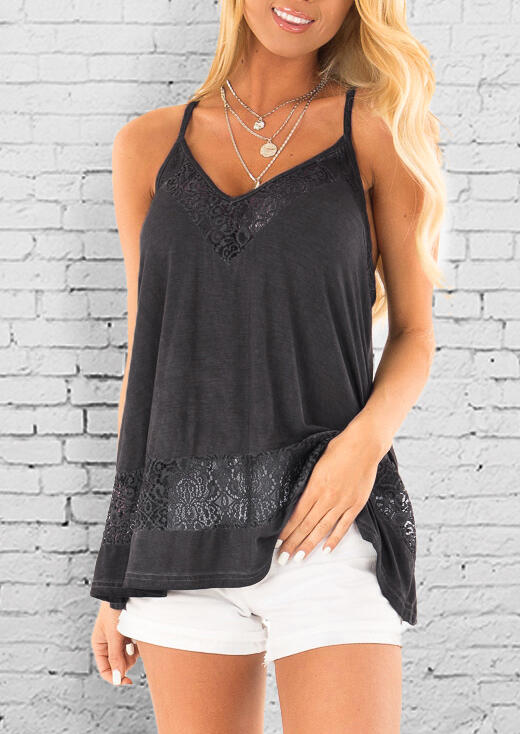 Solid_Lace_Splicing_V-Neck_Camisole_without_Necklace_-_Gray